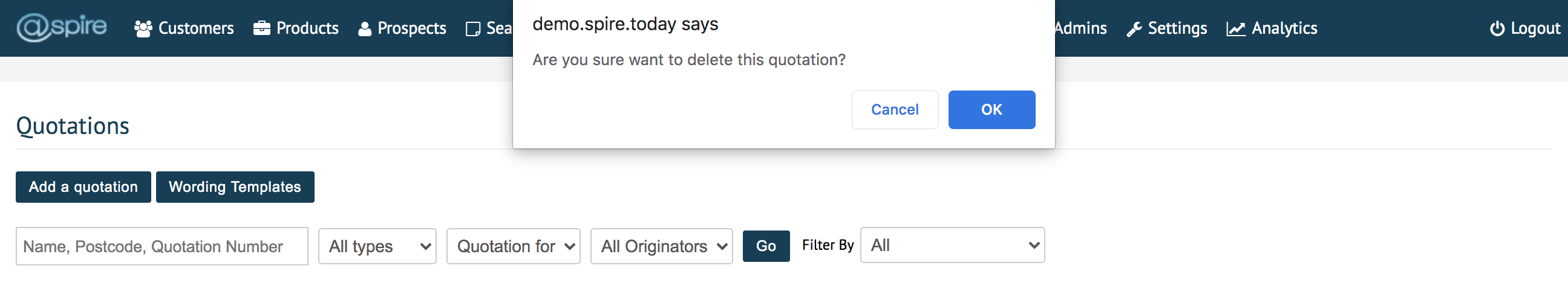 Deleting your quotation